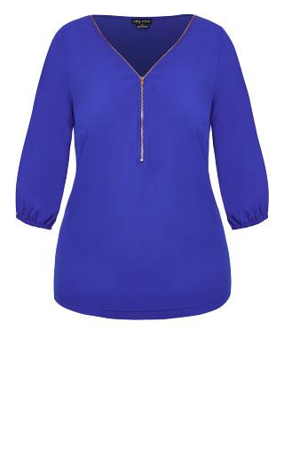 Sexy Fling Elbow Sleeve Top - cobalt