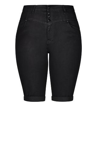 Hi Waist Knee Length Short - black