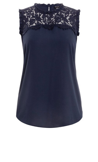 Lace Angel Top - navy