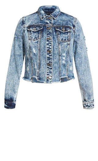 Distress Denim Jacket - blue