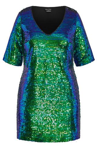 Sequin Glam Dress - blue
