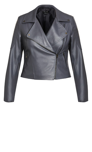 Zip Biker Jacket - smoke
