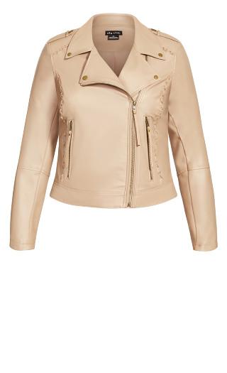 Cross Stitch Biker Jacket - taupe