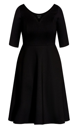 Cute Girl Elbow Sleeve Dress - black
