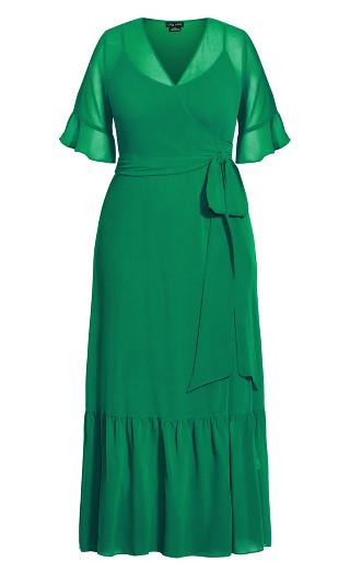 Flutter Wrap Maxi Dress - green stone