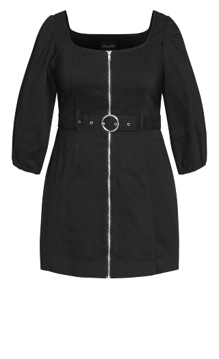 Cool Denim Dress - black