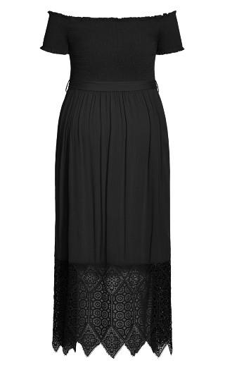 Crochet Hem Maxi Dress - black