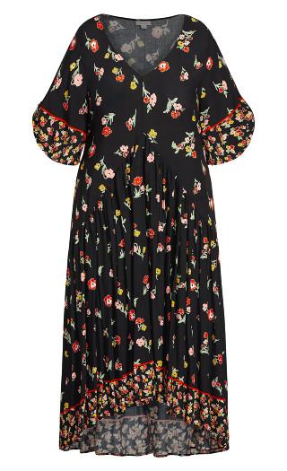 Val Print Dress - black floral