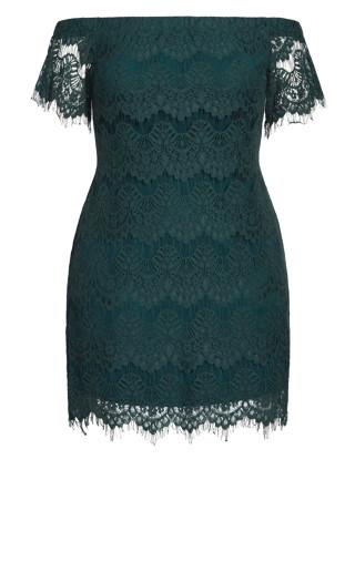 Lace Off Shoulder Dress - emerald