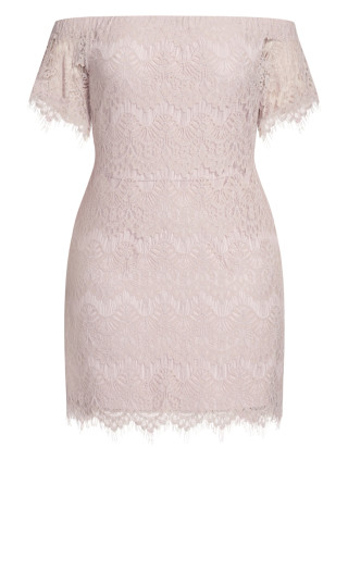 Lace Off Shoulder Dress - soft blush