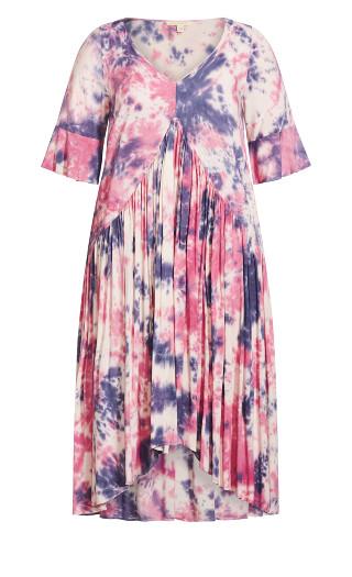 Valerie Dress - pink tie dye