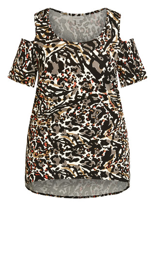 Claire Cold Shoulder Print Tunic - animal