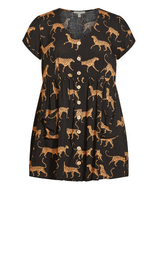 Sabrina Pocket Print Dress - black leopard