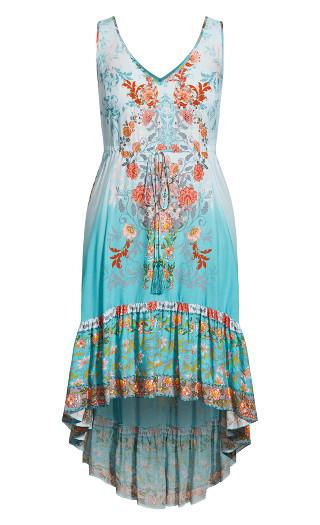 Karma Border Maxi Dress - turquoise