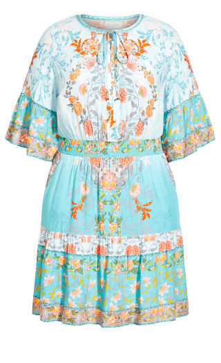 Karma Trim Dress - turquoise