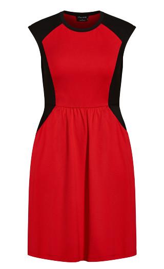 Sweet Splice Dress - red