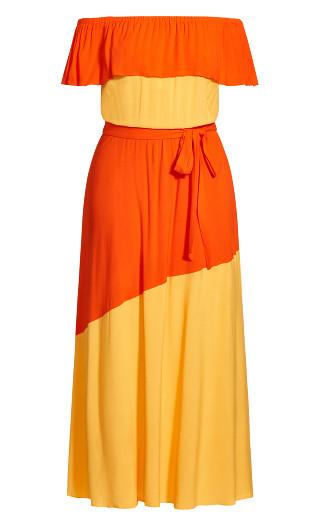 Colourburst Maxi Dress - mandarin