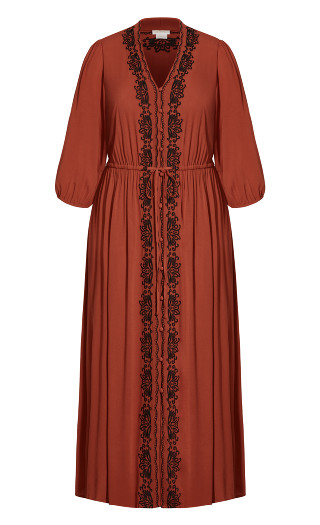 Western Embroidered Maxi Dress - bronze