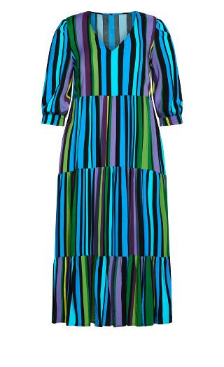 To The Max Dress - aqua stripe