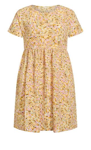 Dolled Up Print Dress - mustard ditsy