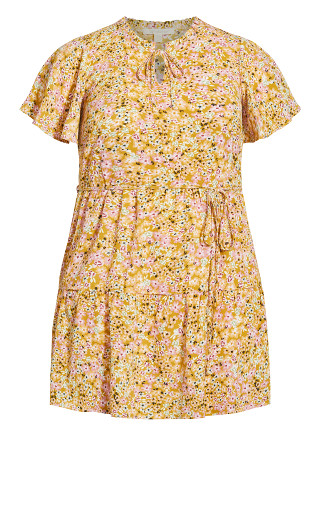 Happy Tier Print Dress - mustard ditsy