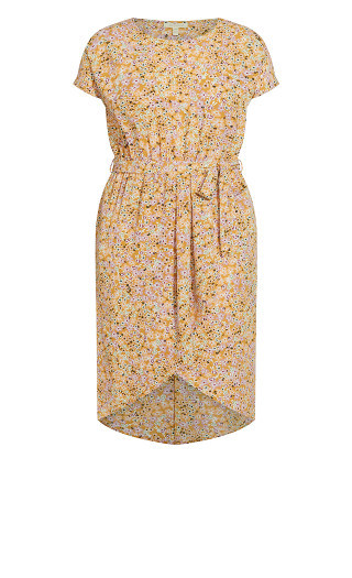 Meant To Be Print Dress - mustard ditsy