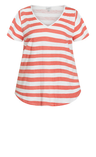 Flutter Sleeve Print Tee - red stripe