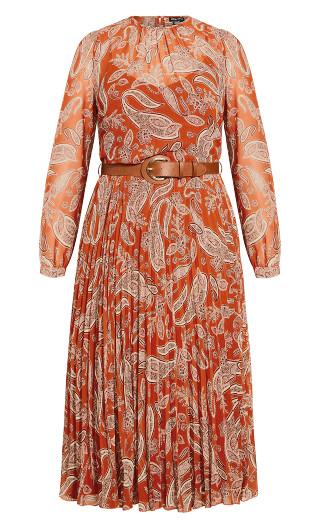 Winter Paisley Dress - copper
