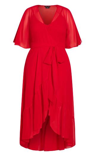 Wrap Flutter Maxi Dress - red