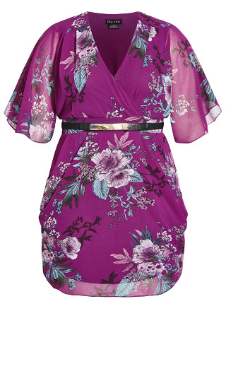 Wrap Floral Dress - magenta