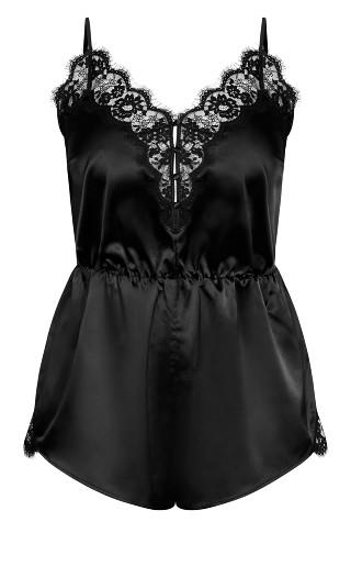 Stella Satin Playsuit - black