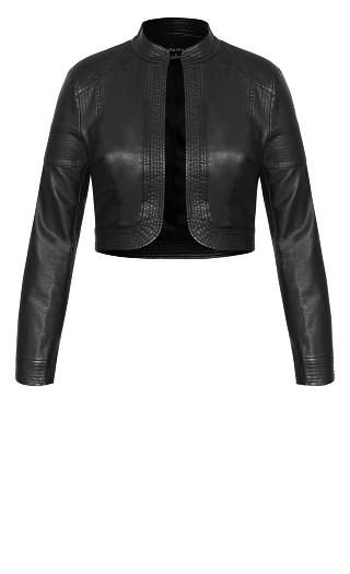 Pleather Bolero Jacket - black