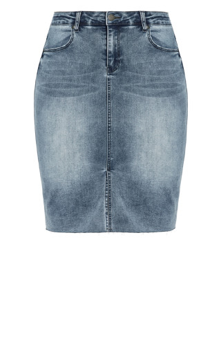Midi Denim Skirt - grey