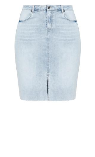 Midi Denim Skirt - sky blue