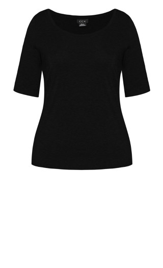Off Shoulder Tee - black