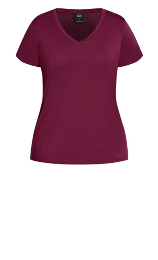 Deep V Tee - berry