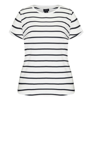 Stripe Boyfriend Tee - white