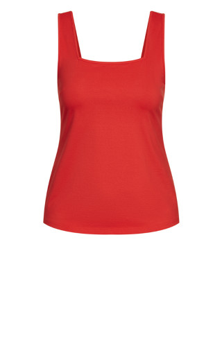 Square Neck Cami - red