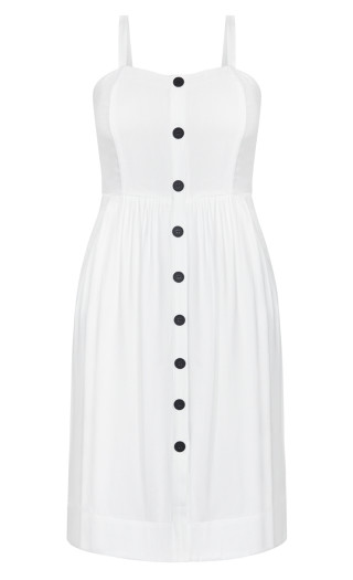 Button Grace Dress - ivory