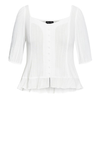 Bubble Sleeve Top - ivory