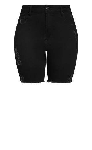 Longline Distressed Short - black
