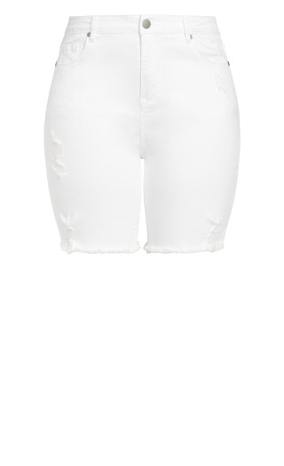 Longline Distressed Short - white