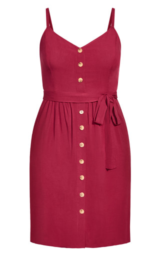 Date Day Dress - rhubarb