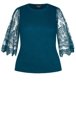 Embroidered Angel Top - teal