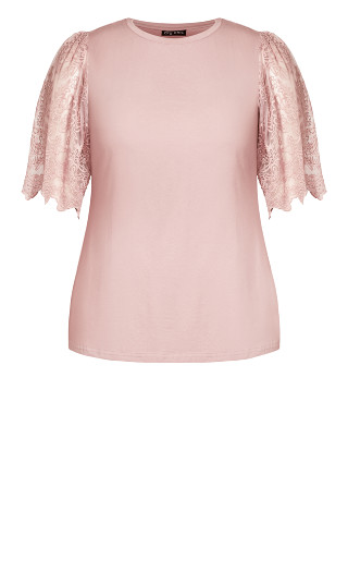 Embroidered Angel Top - dusty rose
