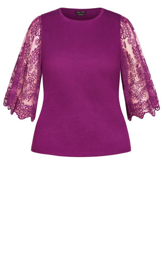 Embroidered Angel Top - magenta