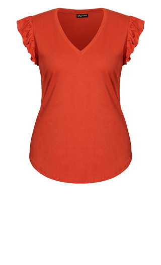 Leisure Frill Top - chilli