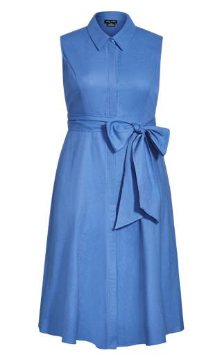 Shirt Detail Dress - cornflower blue