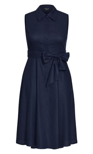 Shirt Detail Dress - navy