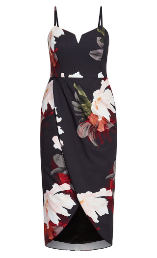 Pixel Floral Dress - black